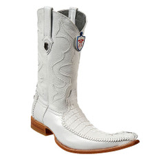 Wild West Boots - Caiman Tail with Deer - 6x Toe - White