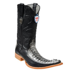 Wild West Boots - Caiman Tail with Deer - 6x Toe - Black Silver