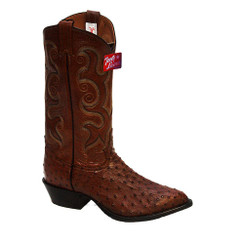 Coffee - Tony Lama Full Quill Ostrich Boot - J-Toe