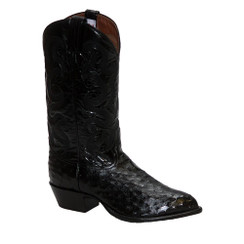 Black - Tony Lama Full Quill Ostrich Boot - J-Toe