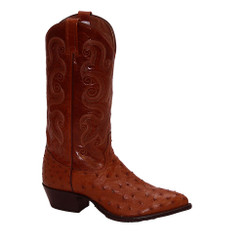 Cognac - Tony Lama Full Quill Ostrich Boot - J-Toe