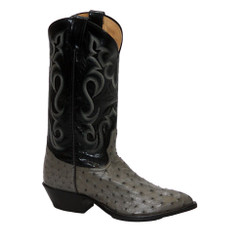 J- Toe- Grey - Tony Lama Full Quill Ostrich Boot And Belt