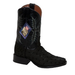 Black - Tony Lama Ostrich Boot - HMI French Toe