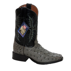 Gray - Tony Lama Ostrich Boot - HMI French Toe