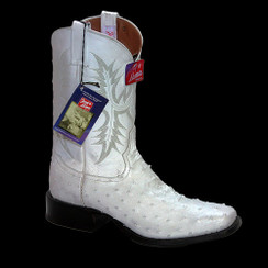 White - Tony Lama Ostrich Boot - HMI French Toe