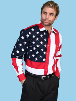 Scully Shirt - American Flag  - rr-rw029