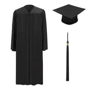 Black One Way™ Cap, Gown & Tassel