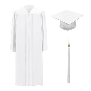 White One Way™ Cap, Gown & Tassel