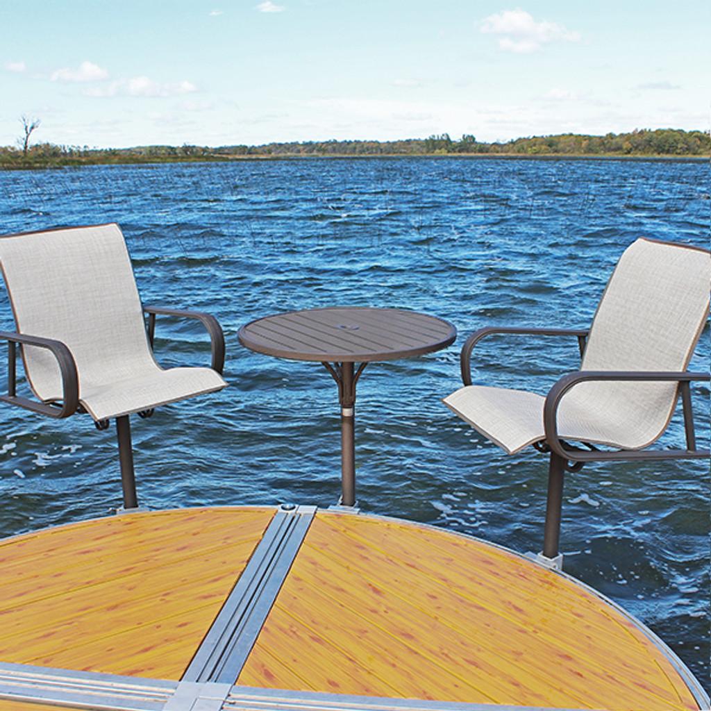 ShoreMaster Premium Dock Furniture Aluminum Fabric on Chair with Hickory Finish