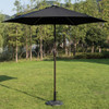 Deluxe Solar Powered LED Stripe Lighted Outdoor Patio Market Umbrella with Crank, 9Feet(Black)