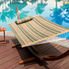 Sundale Outdoor Hammock Quilted Fabric with Pillow for Two Person Double Size Spreader Bar Heavy Duty Stylish, Tan and Green Stripes
