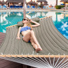 Sundale Outdoor Hammock Quilted Fabric with Pillow for Two Person Double Size Spreader Bar Heavy Duty Stylish, Taupe