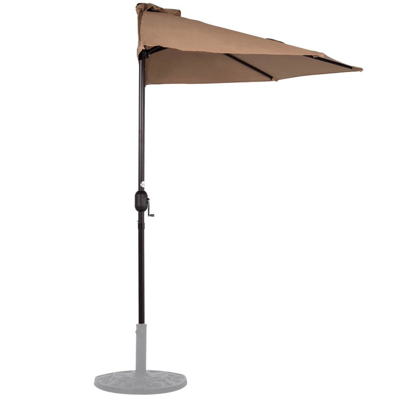 9 Feet Steel Half Patio Umbrella With Crank, 5 Steel Ribs (Tan)