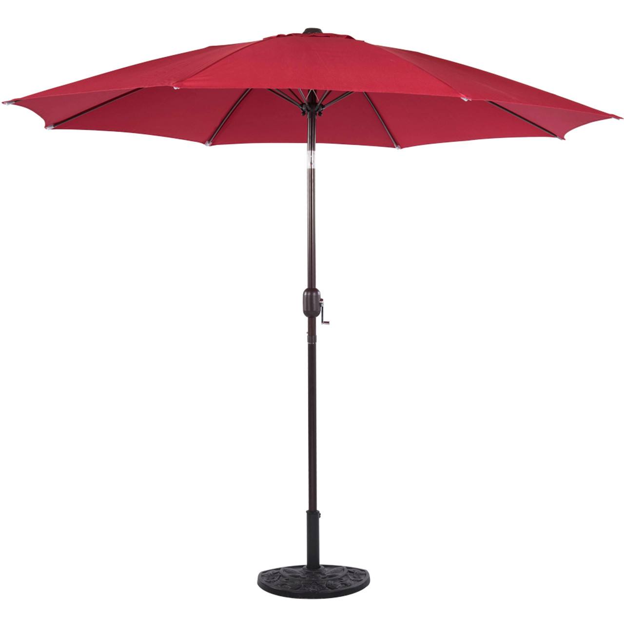 Awesome 9 Feet Aluminum Patio Umbrella With Crank And Push Button Tilt(Red)