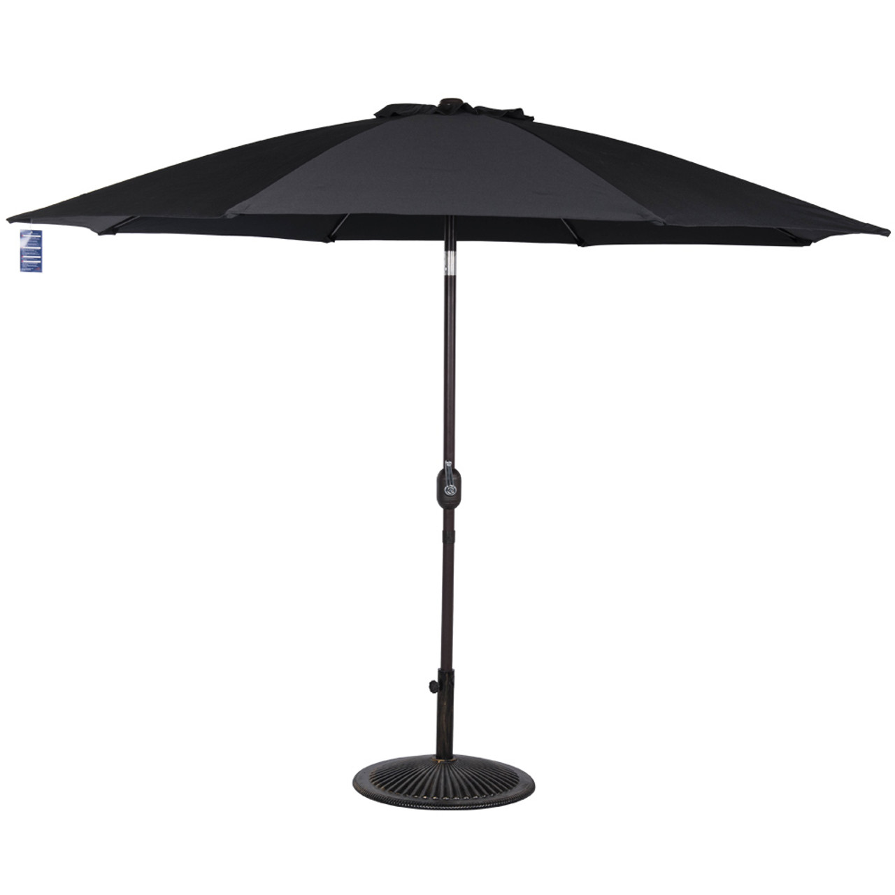9 Feet Aluminum Patio Umbrella With Crank And Push Button Tilt(Black)