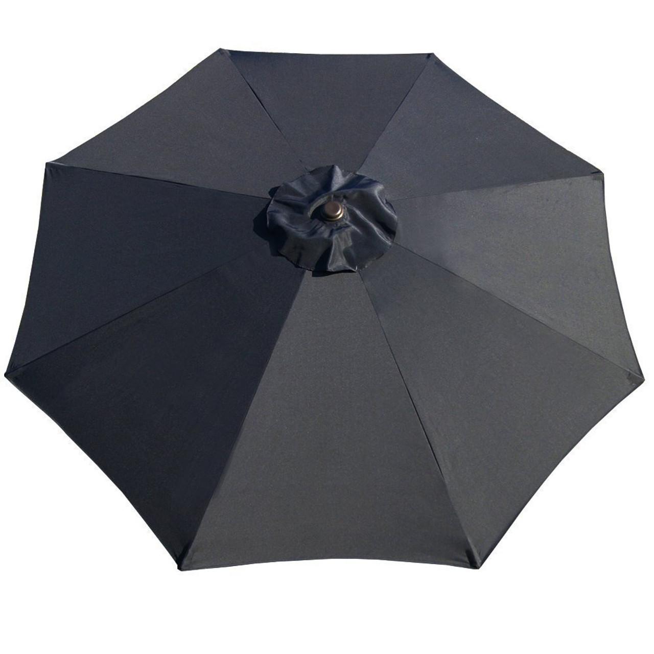 9 Feet Patio Umbrella Replacement Cover For 8 Ribs Yard Garden Polyester  (Black)