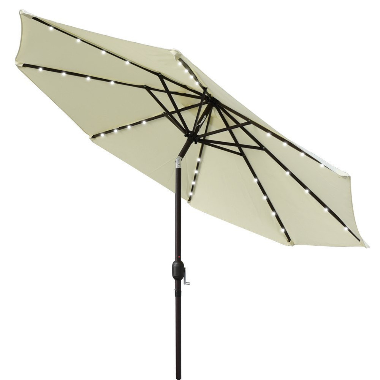 Solar Powered 32 LED Lighted Outdoor Patio Umbrella With Crank And Tilt, 9  Feet, Light Yellow