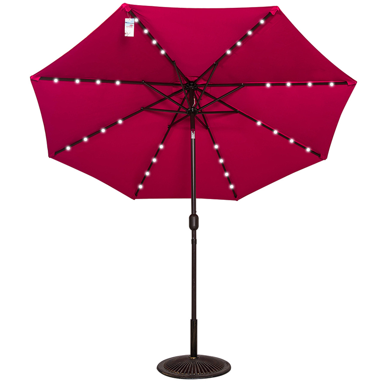 Solar Powered 32 LED Lighted Outdoor Patio Umbrella With Crank And Tilt, 9  Feet,