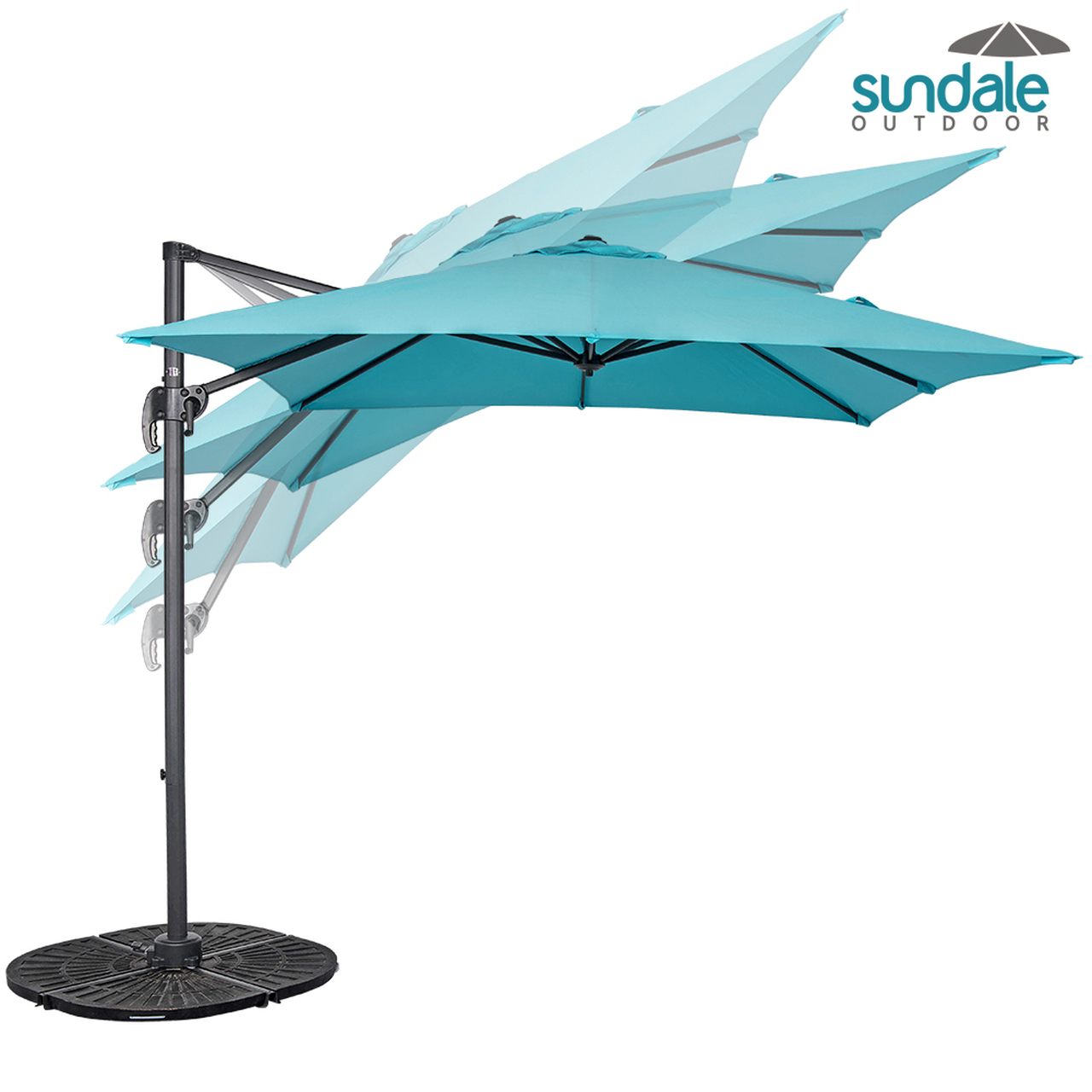 8.2ft Square Hanging Roma Offset Umbrella Outdoor Patio Sun Shade  Cantilever Crank Canopy (Light