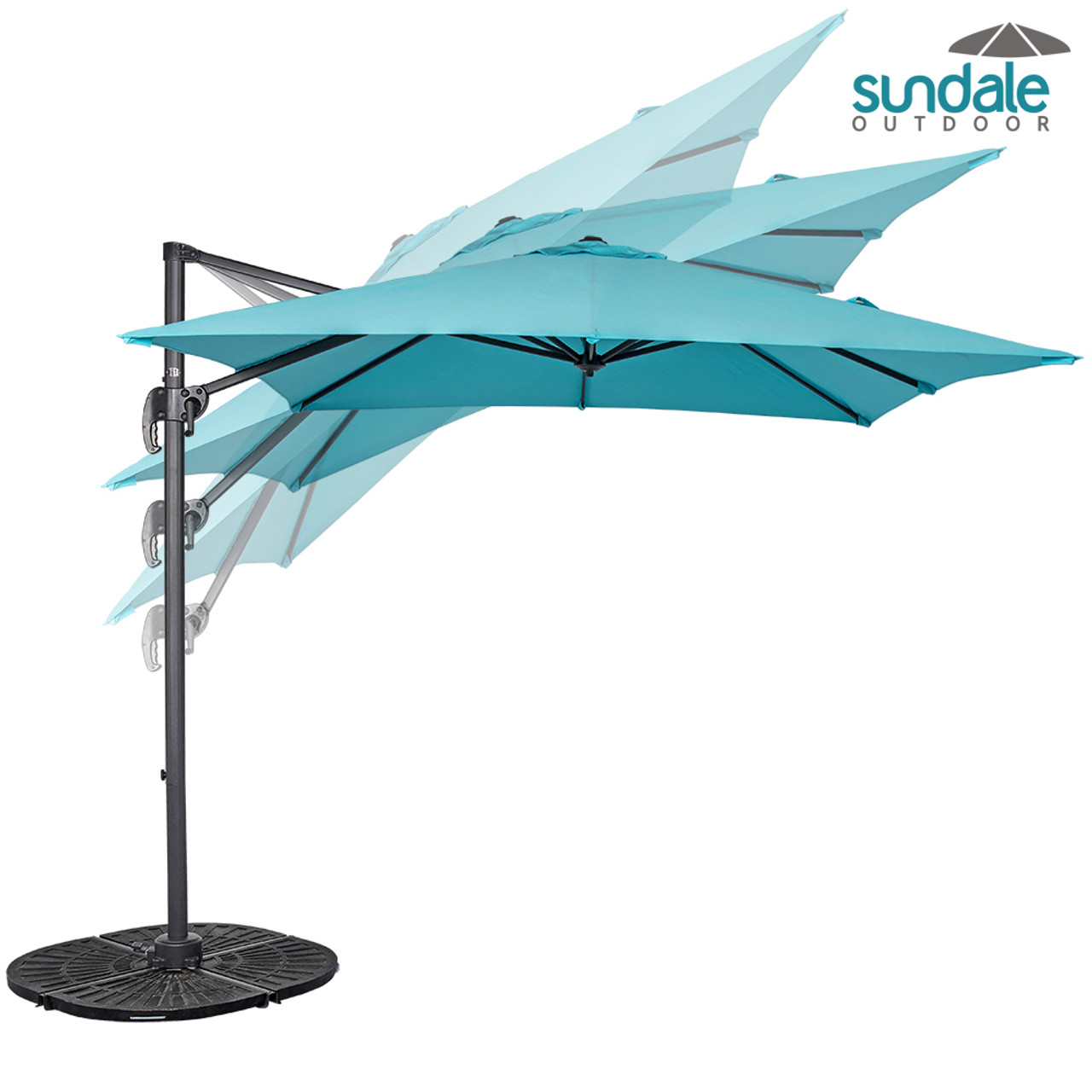 8.2ft Square Hanging Roma Offset Umbrella Outdoor Patio Sun Shade  Cantilever Crank Canopy (Light Blue)
