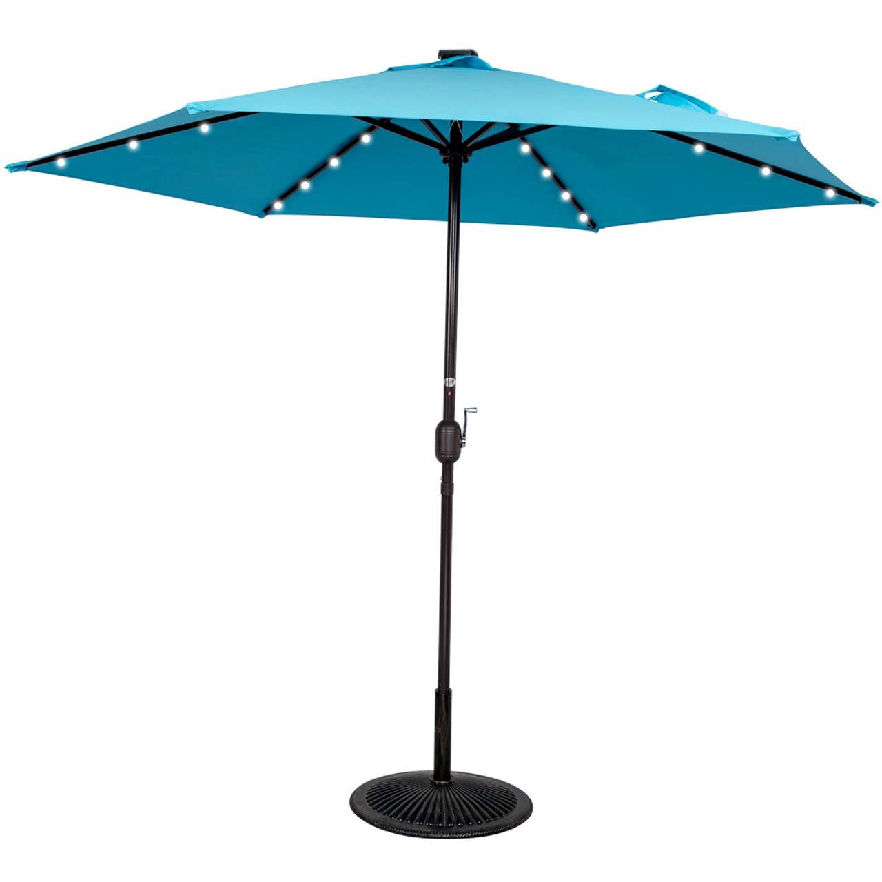 9ft 24 Led Light Outdoor Market Patio Umbrella Garden Pool With Crank, 6  Ribs (Light Blue)