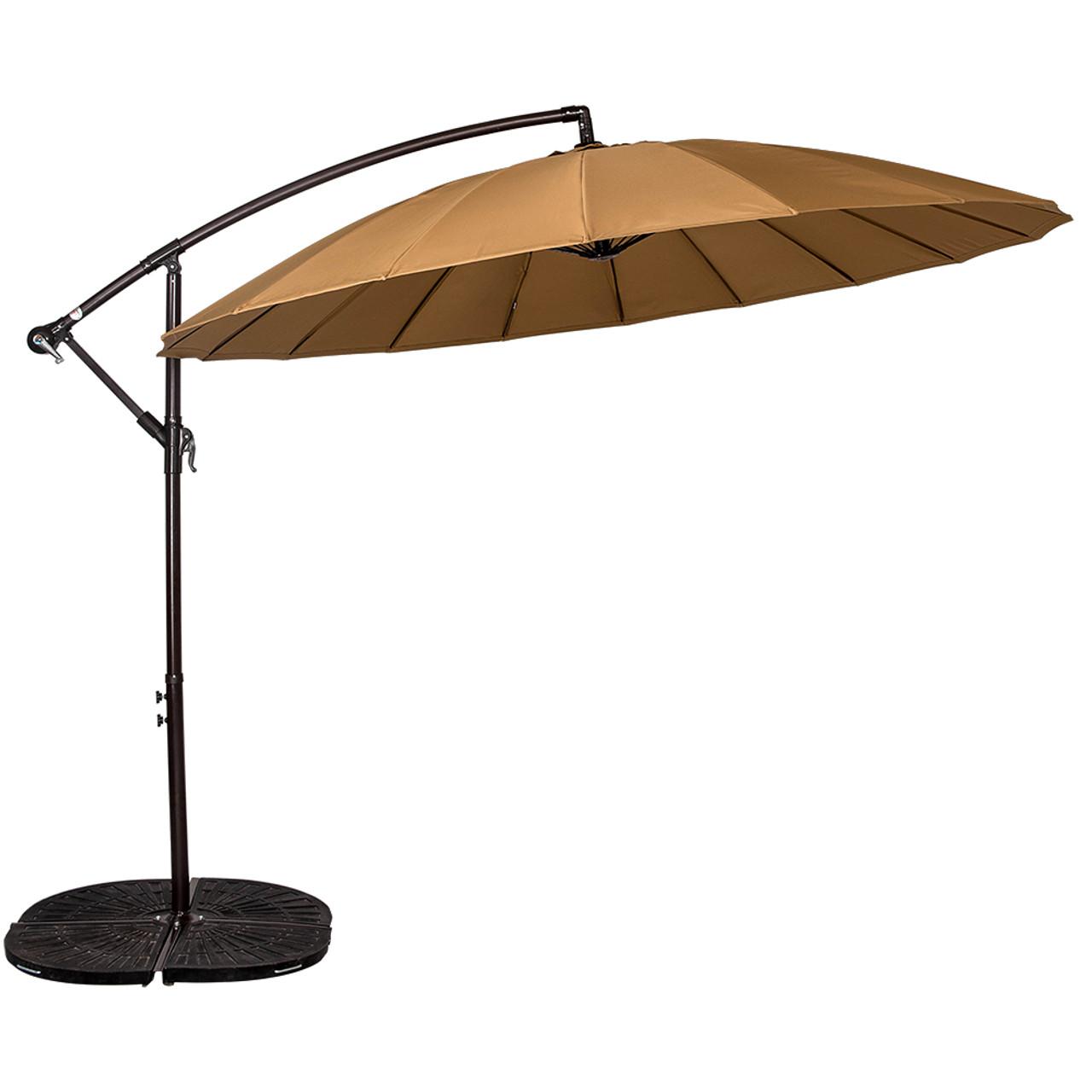 9 Feet Offset Patio Umbrella With Crank, 18 Fiberglass Ribs (Tan) On Sale