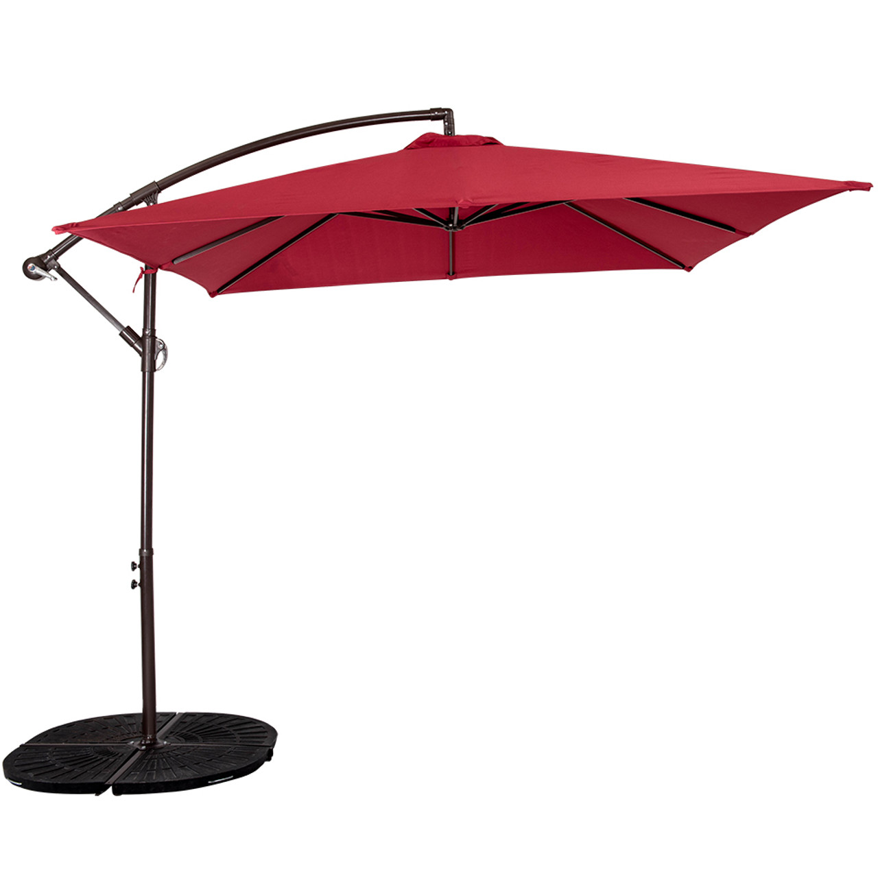 Great Patio Garden 8.2 X 8.2 FT Square Offset Patio Umbrella With Crank (Burgundy)