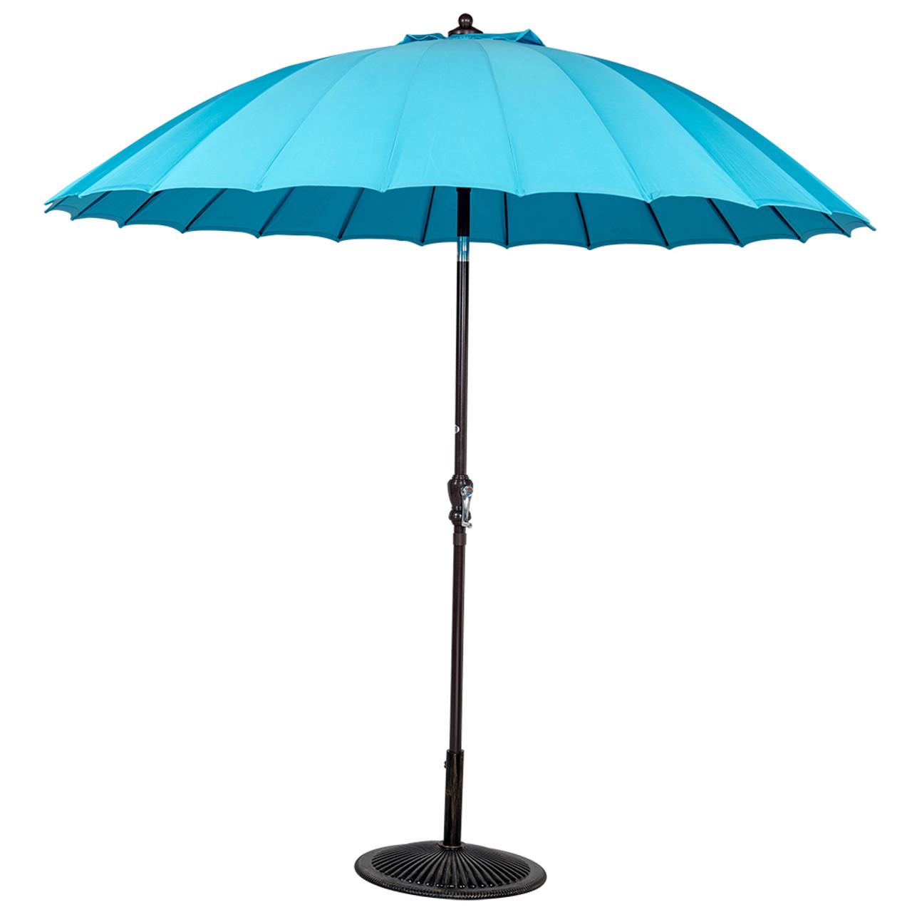 9ft Patio Garden Parasol Outdoor Market Umbrella With Push Button Tilt And  Crank, 24 Ribs And UV ...