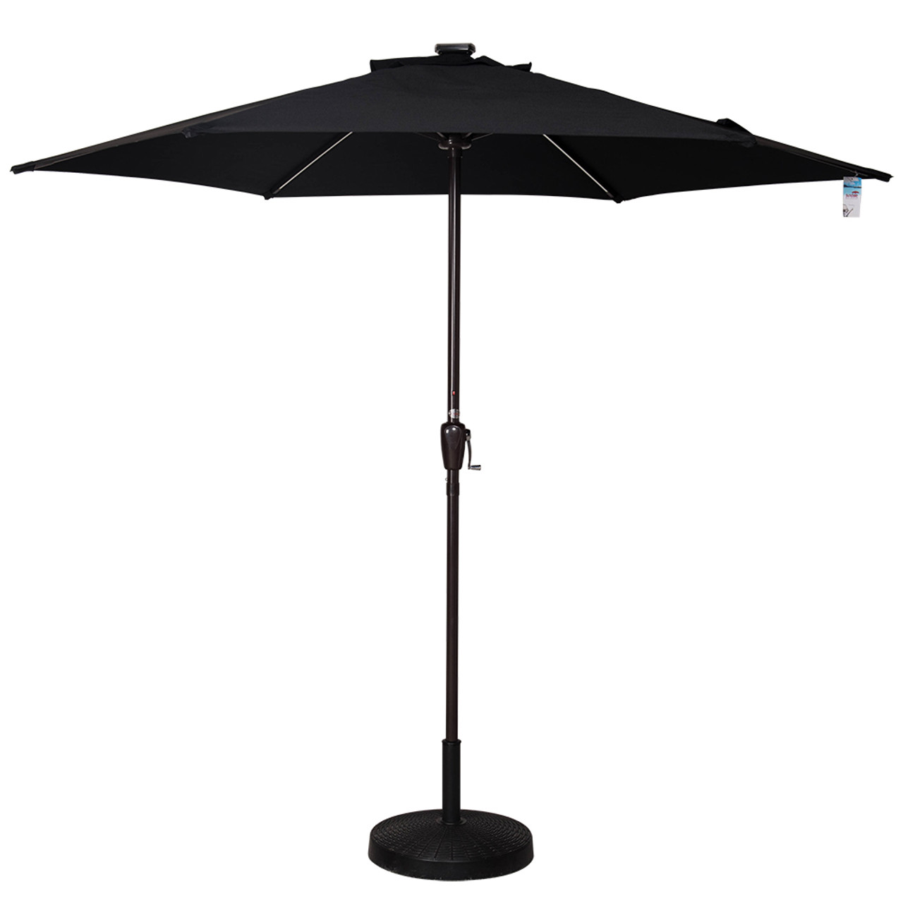 Solar Powered Led Lighted Outdoor Patio Umbrella With Crank And