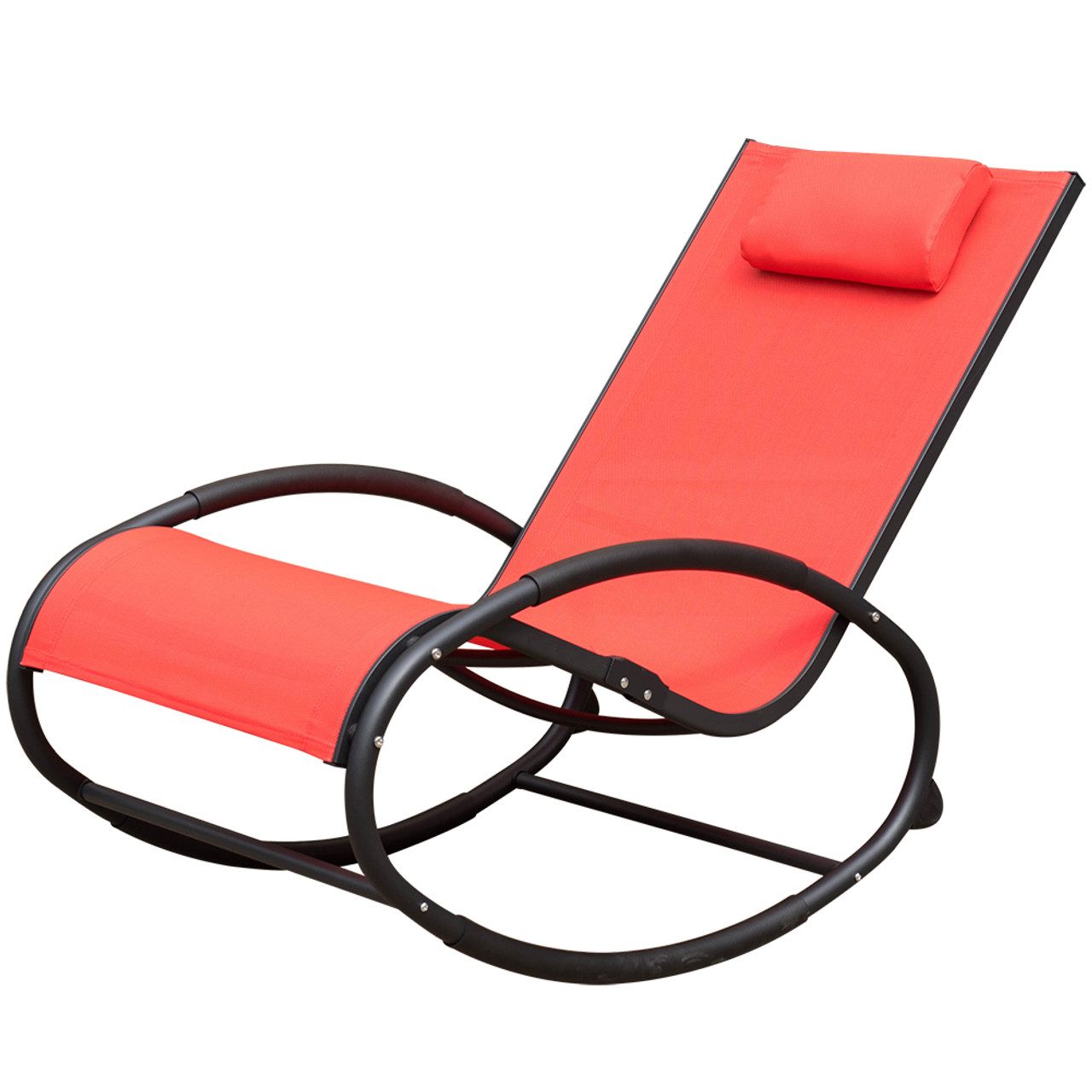 Charming Patio Aluminum Zero Gravity Chair Orbital Rocking Lounge Chair With  Pillow,Capacity 250 Pounds,Red