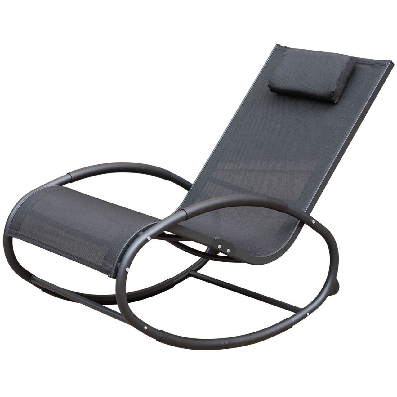 patio garden pool zero gravity orbital rocking lounge chair with aluninum frame and pillow capacity - Zero Gravity Lounge Chair
