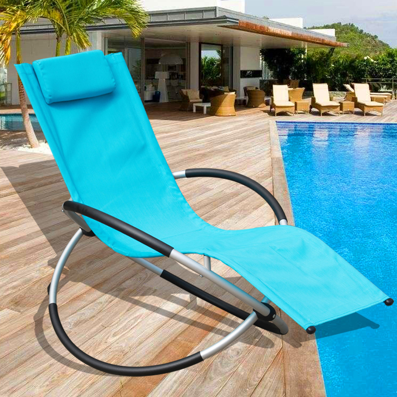 Sundale Outdoor Orbital Zero Gravity Folding Rocking Patio Lounge Chair with PillowCapacity 250 Pounds : chaise lounge folding - Sectionals, Sofas & Couches