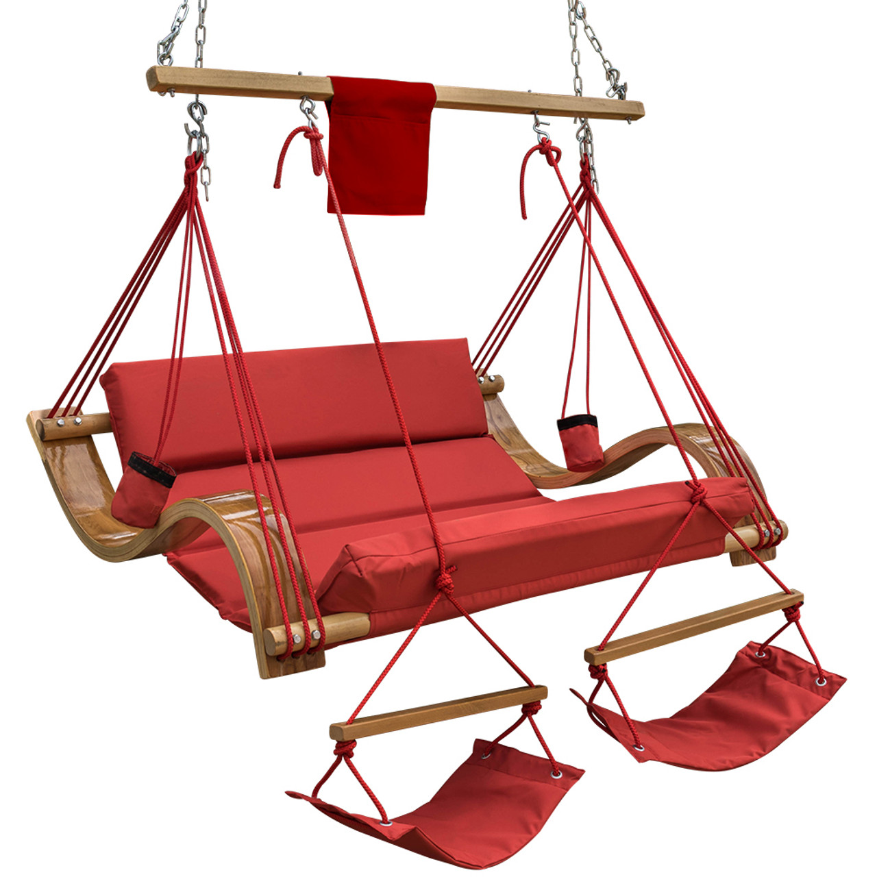 Deluxe Oversized Double Hanging Rope Chair Cotton Padded Swing Chair Wood  Arc Hammock Seat With Cup Holder,Footrestu0026Hardware ...