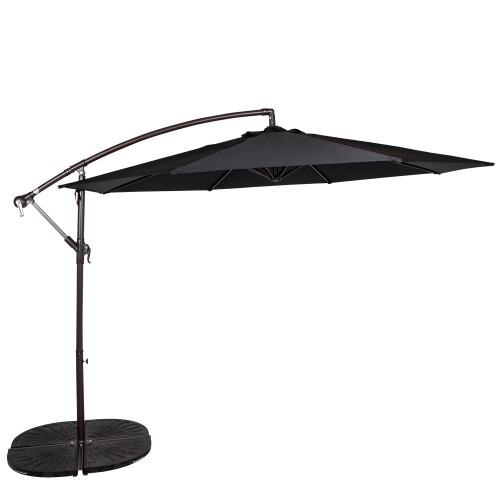 10 Feet Aluminum Offset Patio Umbrella(Black)