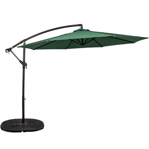 10 Feet Aluminum Offset Patio Umbrella(Dark Green)