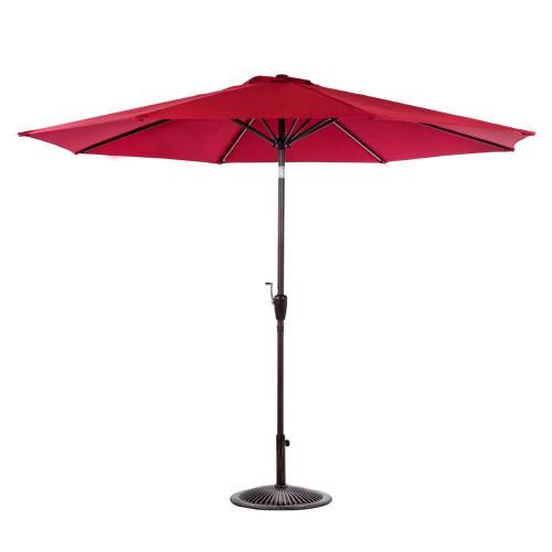 10 Feet Outdoor Aluminum Patio Umbrella(Burgundy)