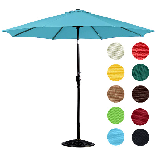 10 Feet Outdoor Aluminum Patio Umbrella with Auto Tilt and Crank, 8 Alu. Ribs, 100% Polyester (Lake Blue)