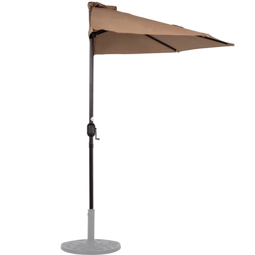 9 Feet Steel Half Patio Umbrella with Crank, 5 Steel Ribs (Tan)
