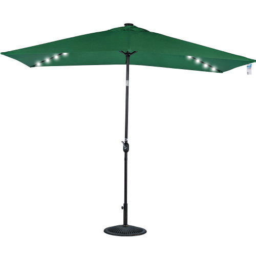 Rectangular Solar Powered 22 LED Lighted Outdoor Patio Umbrella(Dark Green)