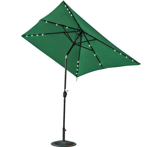 rectangular solar powered 22 led lighted outdoor patio umbrella dark. Black Bedroom Furniture Sets. Home Design Ideas