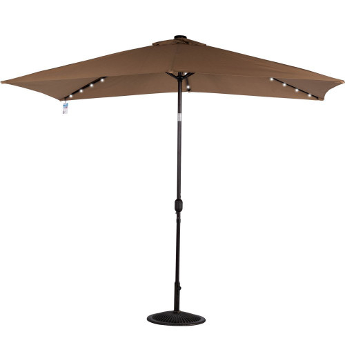 Rectangular Solar Powered 22 LED Lighted Outdoor Patio Umbrella(Tan)