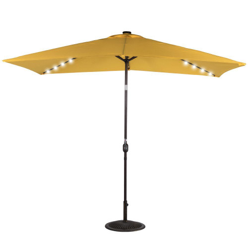 Rectangular Solar Powered 22 LED Lighted Outdoor Patio Umbrella(Yellow)