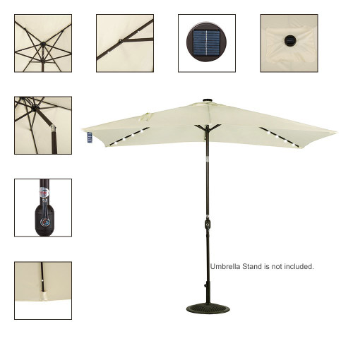 Rectangular Solar Powered 22 LED Lighted Outdoor Patio Umbrella(Light  Yellow)