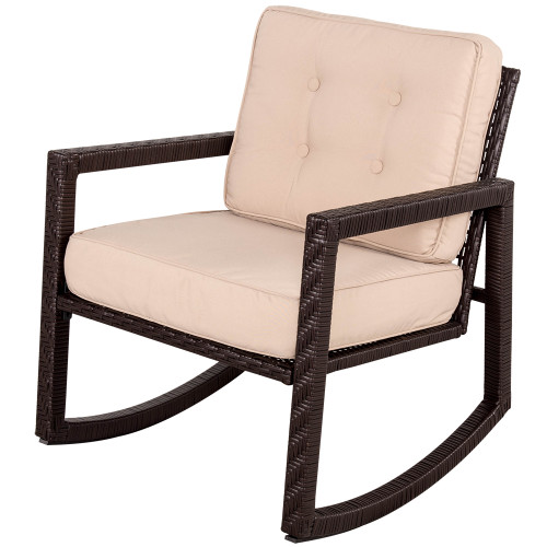 Portable Wicker Rocking Chair with Cushion