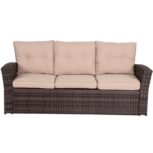 5 Pieces Wicker Patio Garden Furniture Conversation Set with Conner Storage