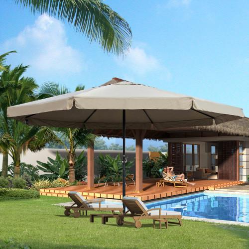 16 Feet Large Market Patio Umbrella with Cross Base(Tan)