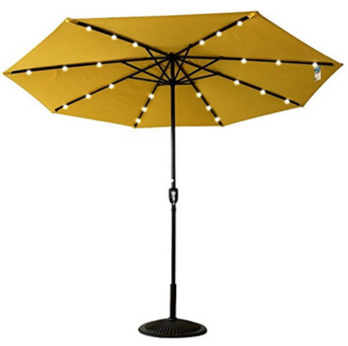 Solar Powered 24 LED Lighted Outdoor Patio Umbrella with Crank, 10Feet, Recharge for Phone (Yellow)