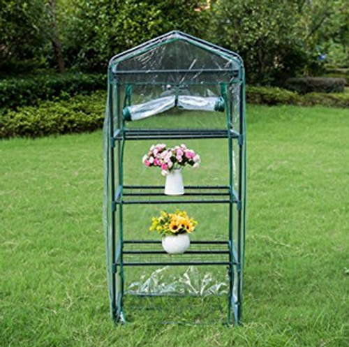"""Mini Green House with 4 Tier and PVC Cover, Waterproof Hot Green House, 27""""(L) x 19""""(W) x 63""""(H)"""