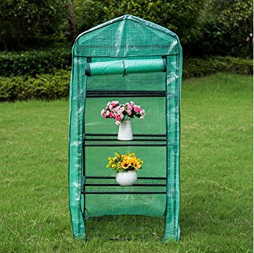 """Mini Green House with 4 Tier and PE Cover,27""""(L) x 19""""(W) x 63""""(H)"""