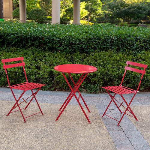 3Pcs Outdoor Bistro Set (Red)